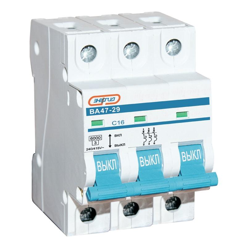Автоматический выключатель 3P 40A ВА 47-29 ЭНЕРГИЯАвтоматические выключатели<br>Трехполюсный автоматический выключатель серии Энергия ВА47-29, номинальный ток – 40 А.