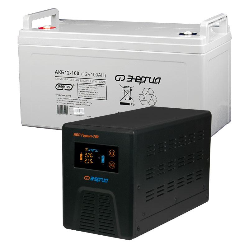 Комплект ИБП Инвертор Энергия Гарант 750 + Аккумулятор 100 АЧ фото