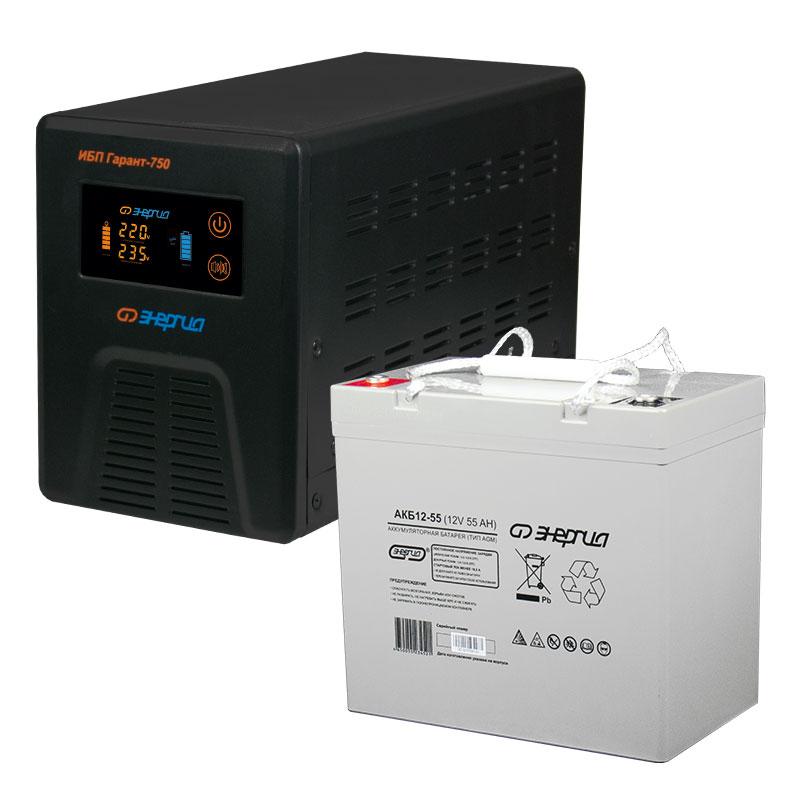 Комплект ИБП Инвертор Энергия Гарант 750 + Аккумулятор 55 АЧ фото