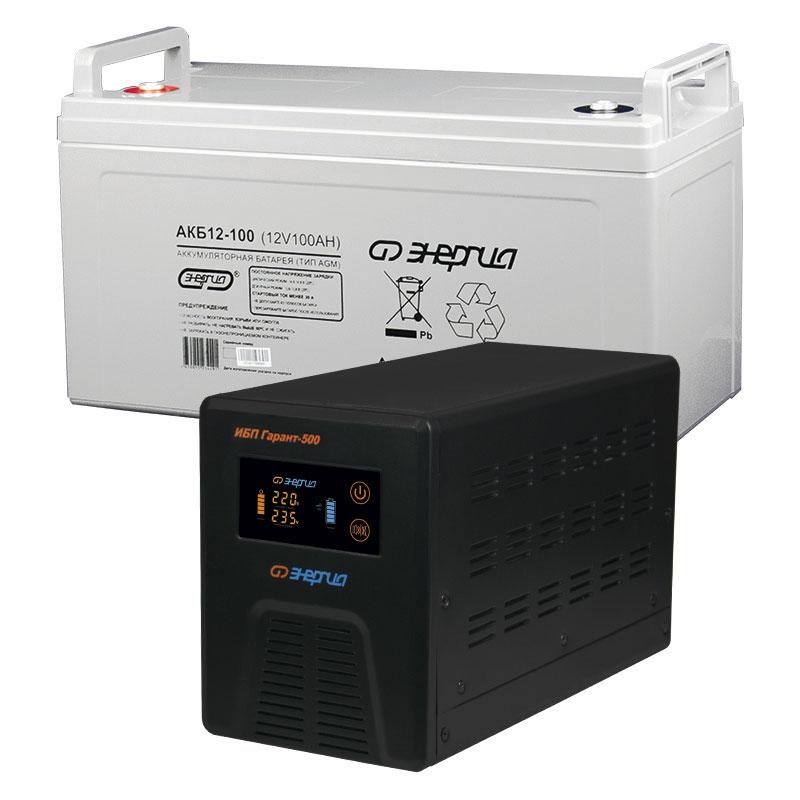 Комплект ИБП Инвертор Энергия Гарант 500 + Аккумулятор 100 АЧ фото
