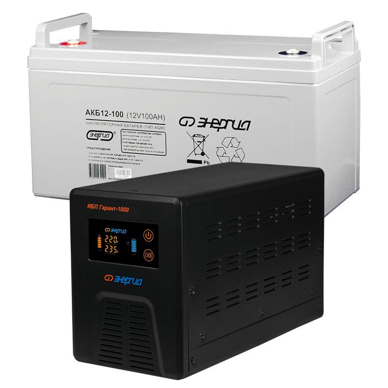 Комплект ИБП Инвертор Энергия Гарант 1000 + Аккумулятор 100 АЧ
