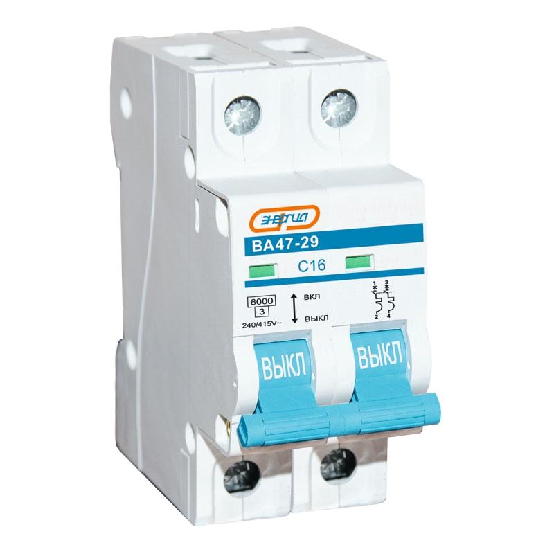 Автоматический выключатель 2P 32A ВА 47-29 ЭНЕРГИЯАвтоматические выключатели<br>Двухполюсный автоматический выключатель серии Энергия ВА47-29, номинальный ток – 32 А.