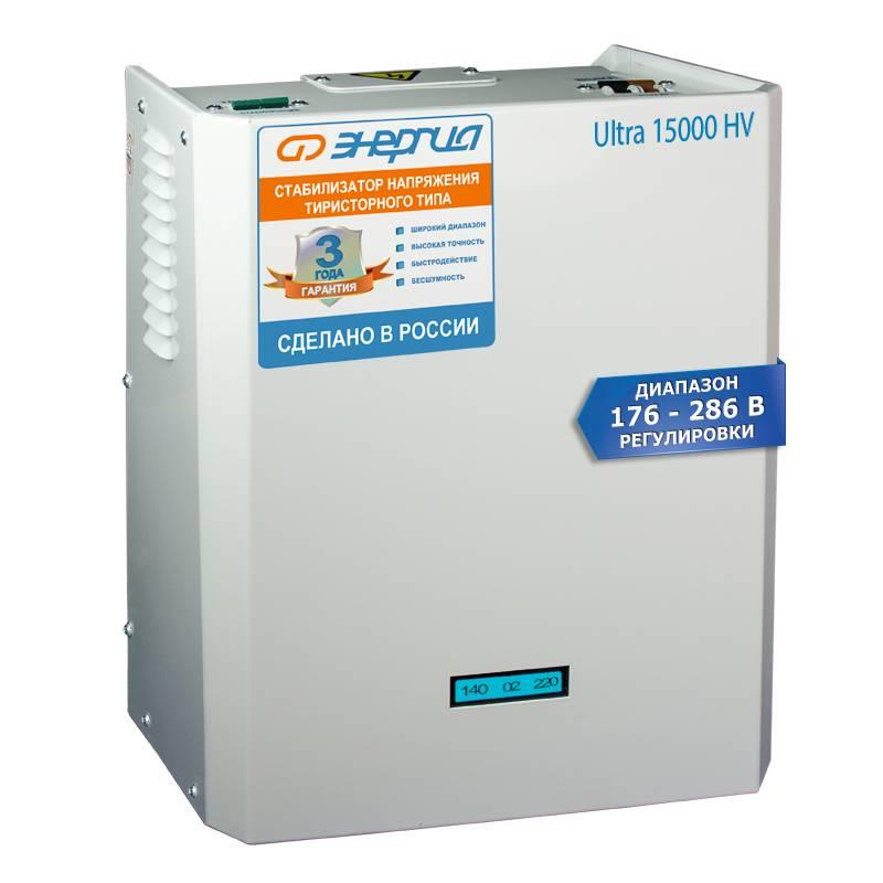 Однофазный стабилизатор напряжения Энергия Ultra 15000 (HV)Стабилизаторы напряжения<br>Тип напряжения:Однофазный; <br>Принцип стабилизации:Тиристорный; <br>Мощность (кВА):15; <br>Способ установки:Напольный, Настенный;