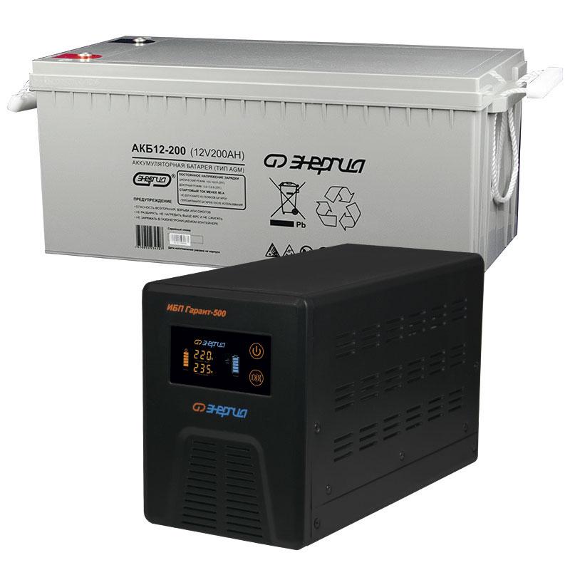 Комплект ИБП Инвертор Энергия Гарант 500 + Аккумулятор 200 АЧ фото