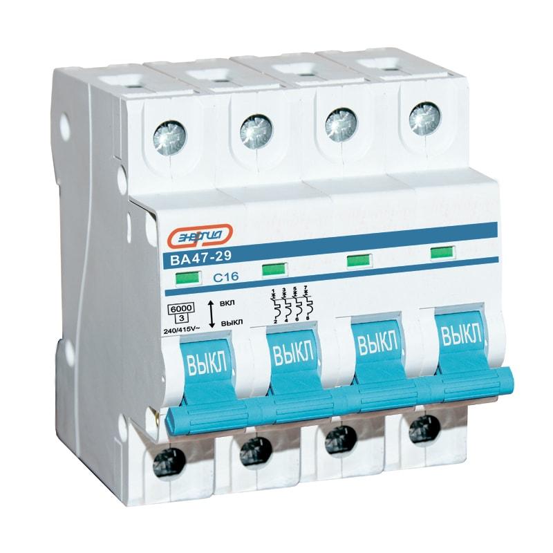 Автоматический выключатель 4P 63A ВА 47-29 ЭНЕРГИЯАвтоматические выключатели<br>Четырехполюсный автоматический выключатель серии Энергия ВА47-29, номинальный ток – 63 А.