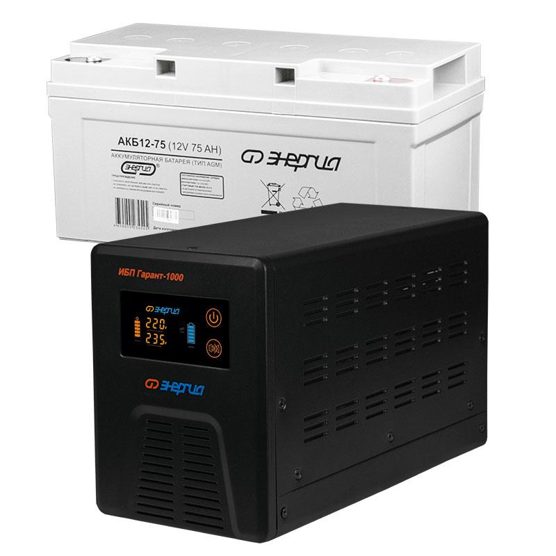 Комплект ИБП Инвертор Энергия Гарант 1000 + Аккумулятор 75 АЧ фото