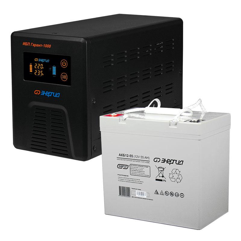 Комплект ИБП Инвертор Энергия Гарант 1000 + Аккумулятор 55 АЧ фото